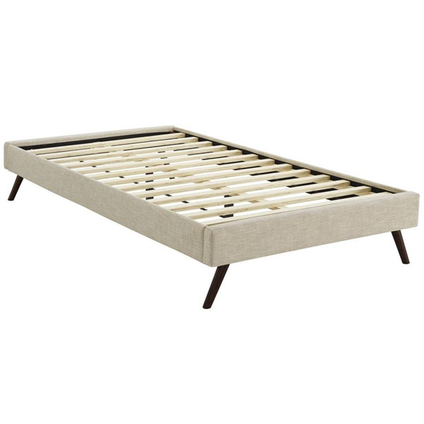 Modway Furniture Loryn Beige Fabric Round Splayed Legs Twin Bed Frame MOD-5887-BEI