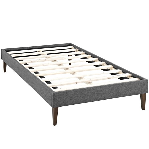 Modway Furniture Tessie Gray Fabric Squared Tapered Legs Twin Bed Frame MOD-5895-GRY