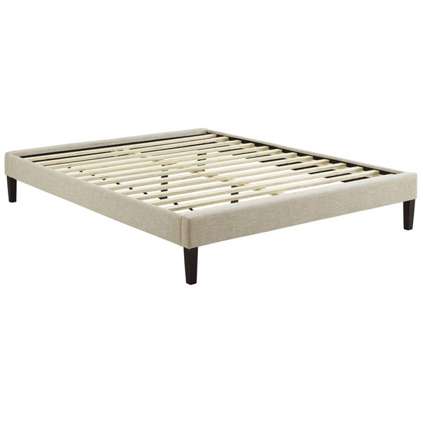 Modway Furniture Tessie Beige Fabric Squared Tapered Legs King Bed Frame MOD-5901-BEI