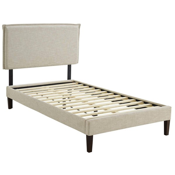 Modway Furniture Amaris Beige Fabric Squared Tapered Legs Twin Platform Bed MOD-5906-BEI