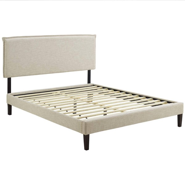Modway Furniture Amaris Beige Fabric Squared Tapered Legs Full Platform Bed MOD-5907-BEI