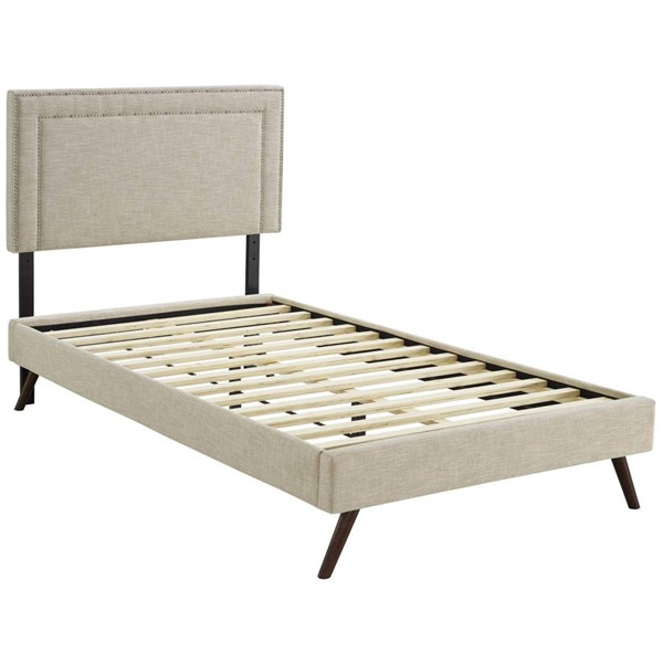 Modway Furniture Virginia Beige Fabric Round Splayed Legs Twin Platform Bed MOD-5911-BEI