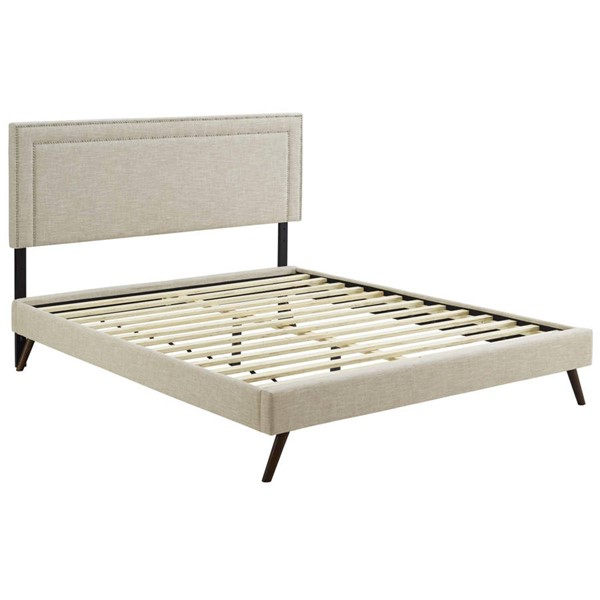 Modway Furniture Virginia Beige Fabric Round Splayed Legs Full Platform Bed MOD-5913-BEI