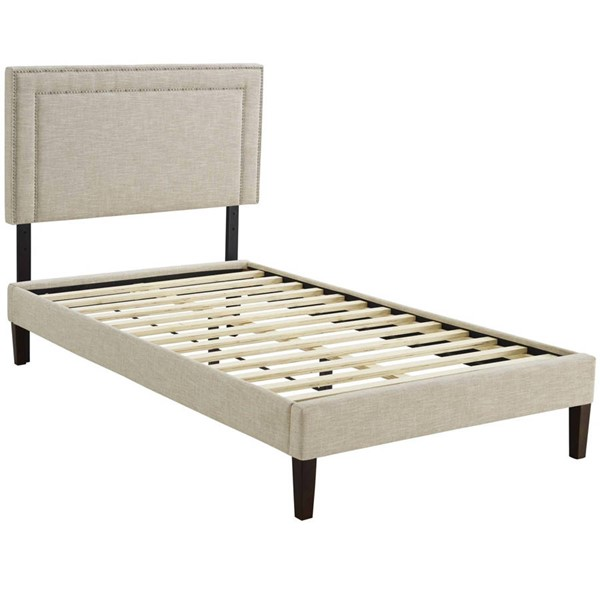 Modway Furniture Virginia Beige Fabric Squared Tapered Legs Twin Platform Bed MOD-5919-BEI