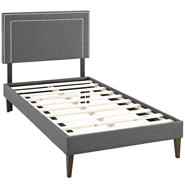Modway Furniture Virginia Gray Fabric Squared Tapered Legs Twin Platform Bed MOD-5919-GRY