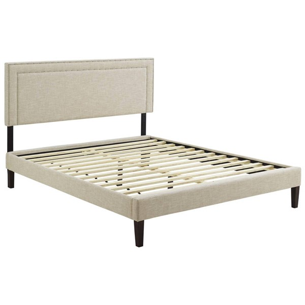 Modway Furniture Virginia Beige Fabric Squared Tapered Legs Queen Platform Bed MOD-5923-BEI