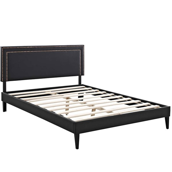 Modway Furniture Virginia Black Vinyl Squared Tapered Legs King Platform Bed MOD-5924-BLK