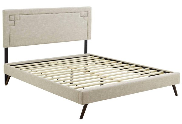 Modway Furniture Ruthie Beige Fabric Round Splayed Legs Full Platform Bed MOD-5929-BEI
