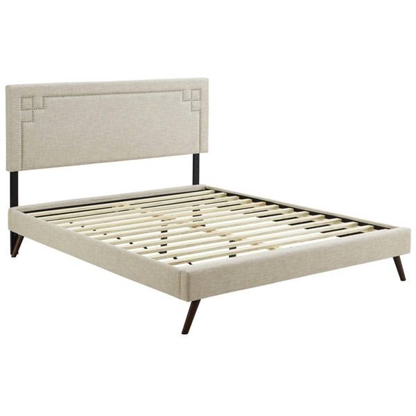 Modway Furniture Ruthie Beige Fabric Round Splayed Legs Queen Platform Bed MOD-5931-BEI