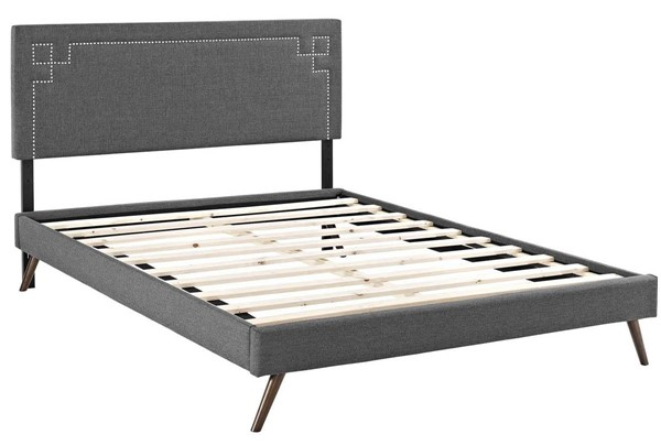 Modway Furniture Ruthie Gray Fabric Round Splayed Legs King Platform Bed MOD-5933-GRY