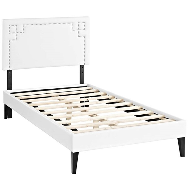 Modway Furniture Ruthie White Vinyl Squared Tapered Legs Twin Platform Bed MOD-5934-WHI