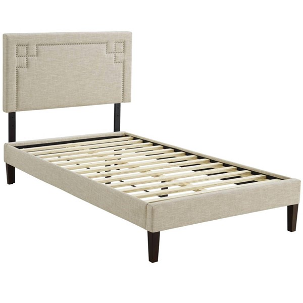 Modway Furniture Ruthie Beige Fabric Squared Tapered Legs Twin Platform Bed MOD-5935-BEI