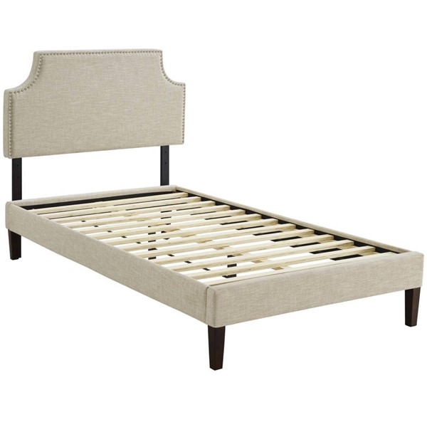 Modway Furniture Corene Beige Fabric Squared Tapered Legs Twin Platform Bed MOD-5951-BEI