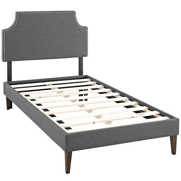 Modway Furniture Corene Gray Fabric Squared Tapered Legs Twin Platform Bed MOD-5951-GRY