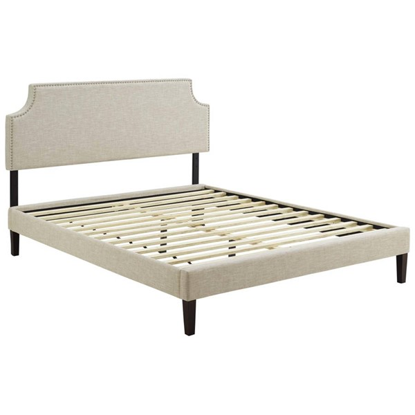 Modway Furniture Corene Beige Fabric Squared Tapered Legs Queen Platform Bed MOD-5955-BEI