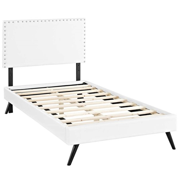 Modway Furniture Macie White Vinyl Round Splayed Legs Twin Platform Bed MOD-5958-WHI