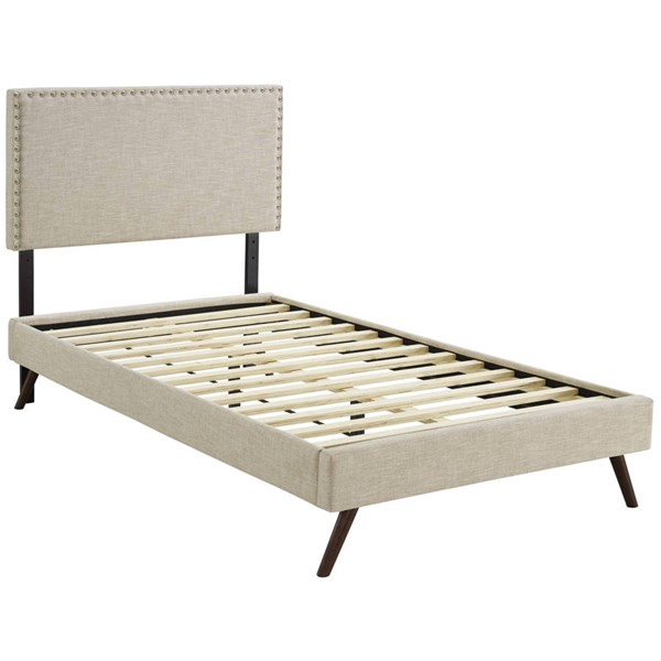 Modway Furniture Macie Beige Fabric Round Splayed Legs Twin Platform Bed MOD-5959-BEI