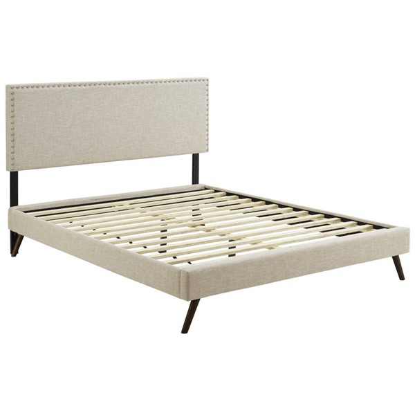 Modway Furniture Macie Beige Fabric Round Splayed Legs King Platform Bed MOD-5965-BEI