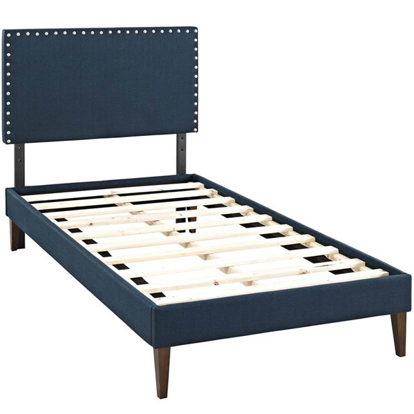 Modway Furniture Macie Azure Fabric Squared Tapered Legs Twin Platform Bed MOD-5967-AZU