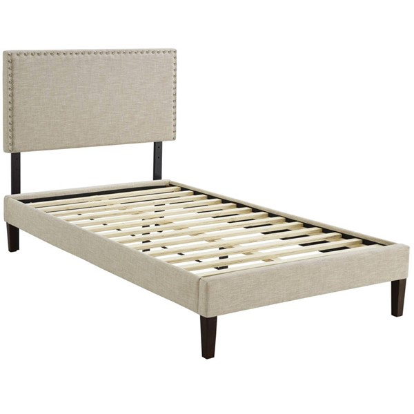 Modway Furniture Macie Beige Fabric Squared Tapered Legs Twin Platform Bed MOD-5967-BEI