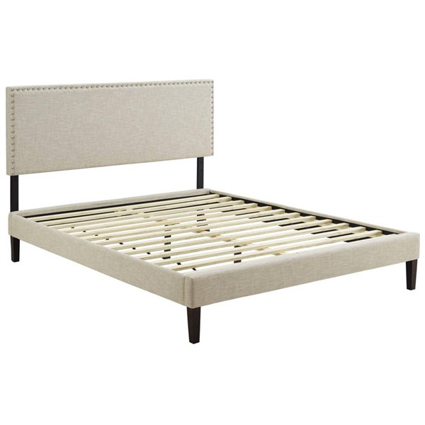 Modway Furniture Macie Beige Fabric Squared Tapered Legs Queen Platform Bed MOD-5971-BEI