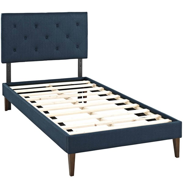 Modway Furniture Tarah Azure Fabric Squared Tapered Legs Twin Platform Bed MOD-5983-AZU