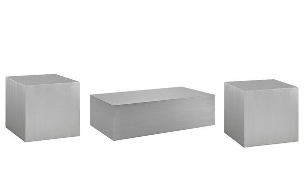 Cast Contemporary Silver Steel Coffee Table Set EEI-209-OCT