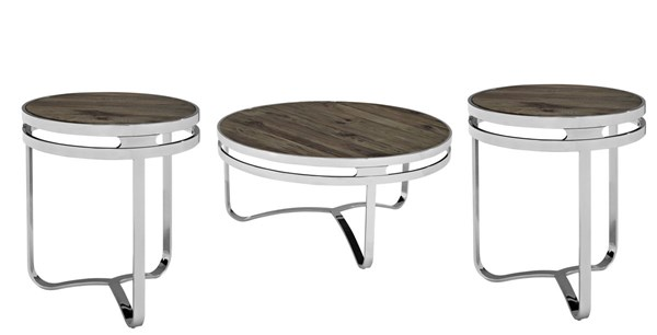 Provision Modern Brown Steel Wood 3pc Coffee Table Set EEI-1213-OCT-S1