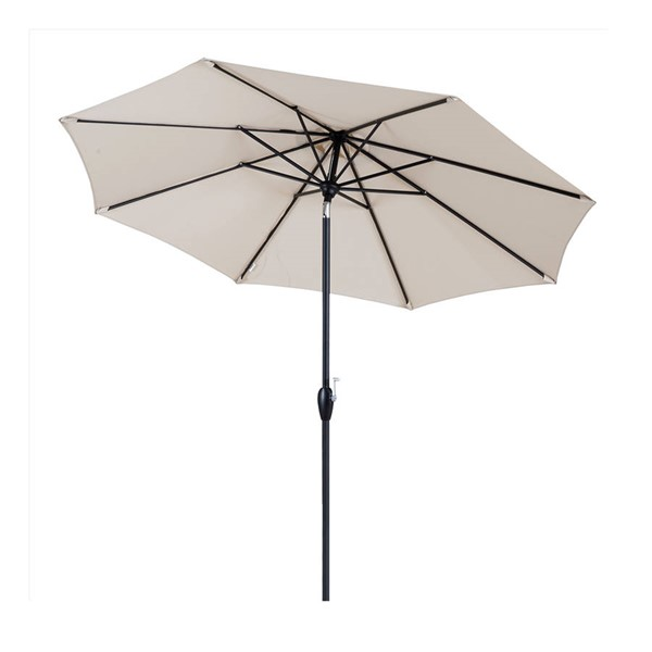Moda Furnishings Beige Auto Tilt and Crank Patio Outdoor Garden Table Umbrella MODA-827-8SAT-BG
