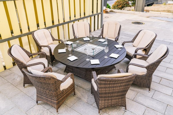 Moda Furnishings Brown 9pc Outdoor Seating Set with Firepit Table MODA-PAG-1108
