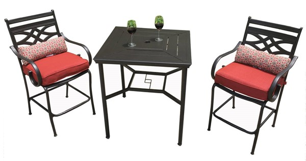 Moda Furnishings Red Cushion 3pc Indoor Outdoor Bar Table Set MODA-DW-11200-1301