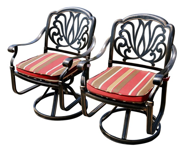 2 Moda Furnishings Black Outdoor Patio Swivel Chairs with Cushions MODA-DW-13-612SC-2