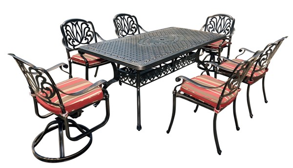Moda Furnishings Black 7pc Outdoor Patio Dining Set with Cushions and Swivel Chair MODA-DW-150-2SC-4RC
