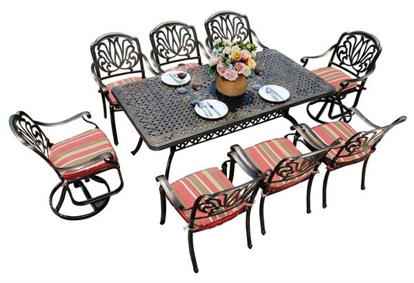 Moda Furnishings Black 9pc Outdoor Patio Dining Set with Cushions and Swivel Chair MODA-DW-180-2SC-6RC