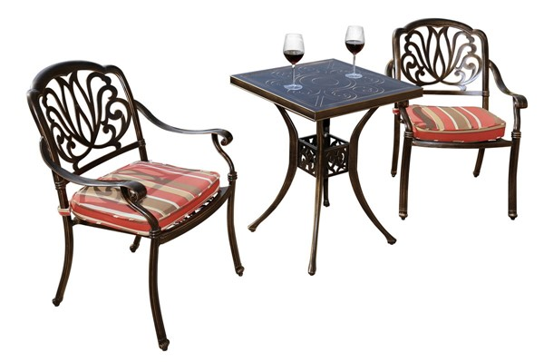 Moda Furnishings Black 3pc Outdoor Patio Conversation Set with Cushions MODA-DW-60-2RC