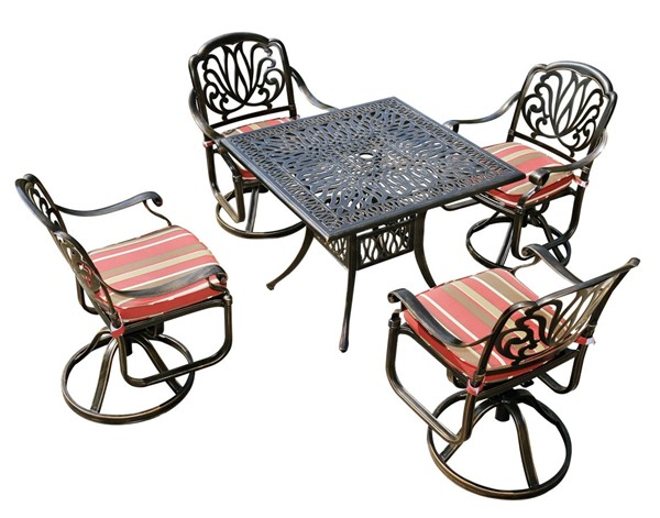 Moda Furnishings Black 5pc Outdoor Patio Dining Set with Cushions and Swivel Chair MODA-DW-90-4SC