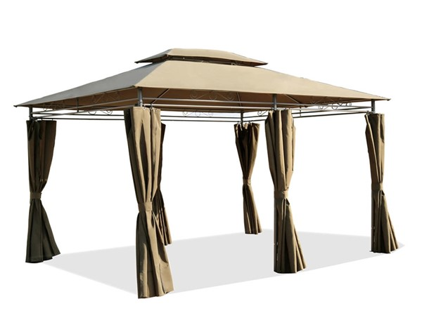Moda Furnishings Beige Party Outdoor Patio Tent Gazebo Canopy with Curtains and Air Venting Screens MODA-DW-GAHC-004
