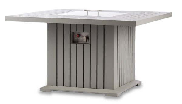 Moda Furnishings Grey 43 Inch Square Outdoor Patio Fire Pit Table with PVC Cover MODA-EVFP-4343-AL-G-Grey