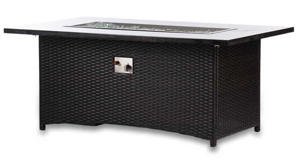 Moda Furnishings Black Rectangle Outdoor Wicker Fire Pit Table with PVC Cover MODA-EVFP-5836-GW-1
