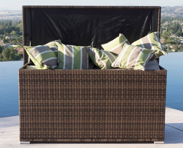 Moda Furnishings Helena Brown 138 Gallon Wicker Deck Box MODA-PA-3256-Brown