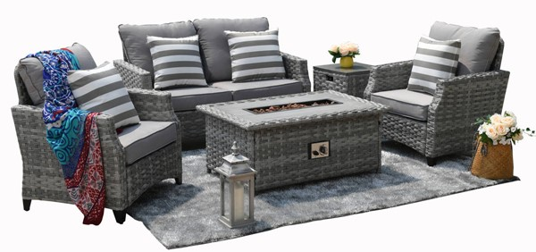 Moda Furnishings Dallas Grey 5pc Sofa Seating Set with Cushion MODA-PAF-1801