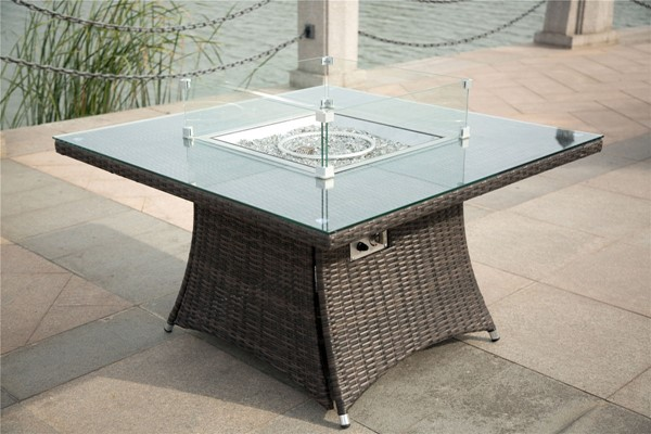 Moda Furnishings Brown Outdoor Garden Gas Firepit Table MODA-PAG-1104-T