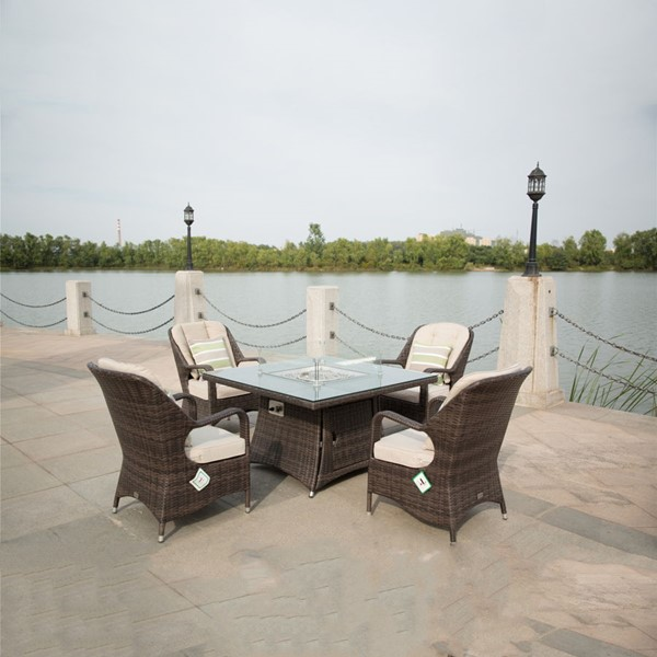 Moda Furnishings Brown 5pc Outdoor Seating Set with Firepit Table MODA-PAG-1104