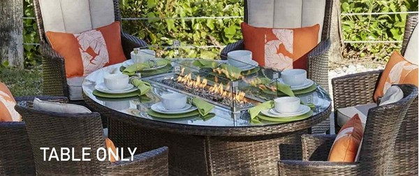 Moda Furnishings Brown Oval Outdoor Gas Firepit Table MODA-PAG-1106-O-T
