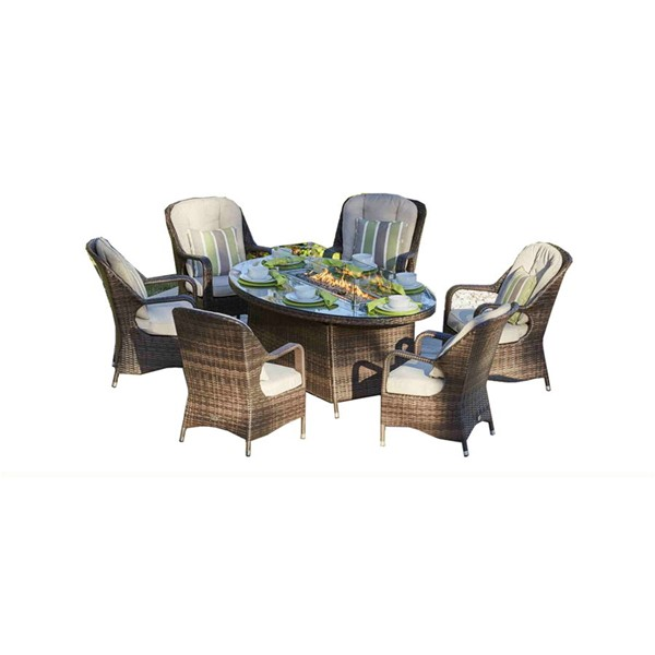 Moda Furnishings Brown 7pc Outdoor Seating Set with Oval Firepit Table MODA-PAG-1106-O