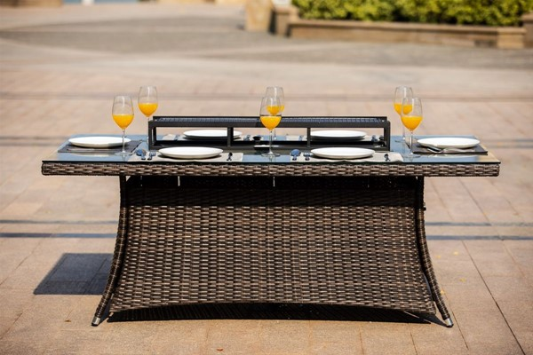Moda Furnishings Brown Rectangular Outdoor Gas Firepit Table MODA-PAG-1106-R-T
