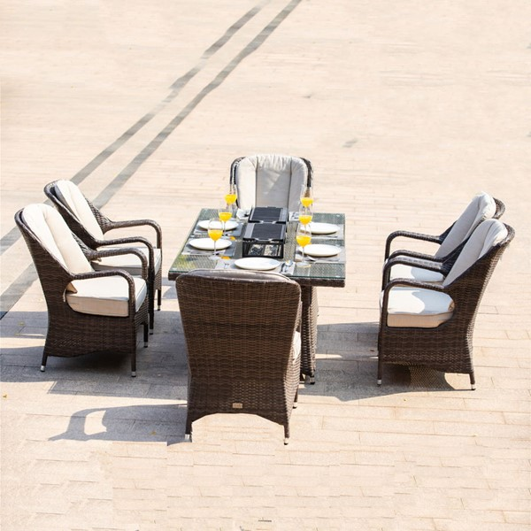 Moda Furnishings Brown 7pc Outdoor Seating Set with Rectangle Firepit Table MODA-PAG-1106-R