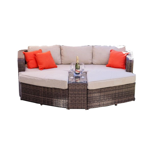 Moda Furnishings Brown 4pc Outdoor Chaise Lounge Seating Set MODA-PAL-1202