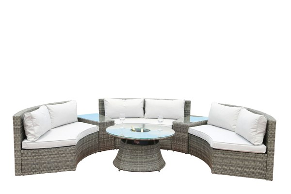Moda Furnishings Skye Gray 6pc Alu Sofa Set With Cushion MODA-PAS-1205B-Gray