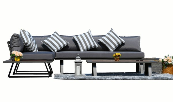 Moda Furnishings Grey Cushions 4pc Outdoor Sectional MODA-PAS-1901